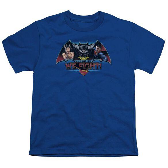 Batman V Superman Together We Fight Short Sleeve Youth Royal T-Shirt