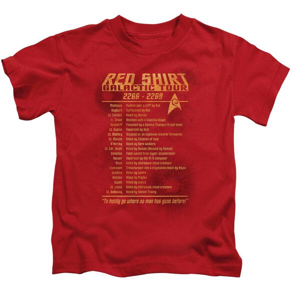 Star Trek Red Shirt Tour Short Sleeve Juvenile Red T-Shirt
