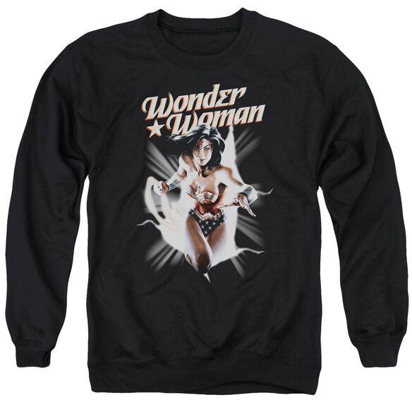 Jla Ww Break Out Adult Crewneck Sweatshirt