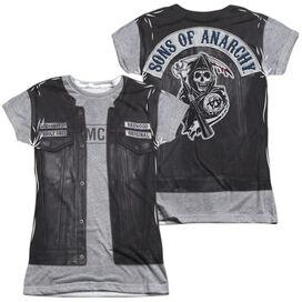 Sons Of Anarchy Unholy Costume (Front Back Print) Short Sleeve Junior Poly Crew T-Shirt