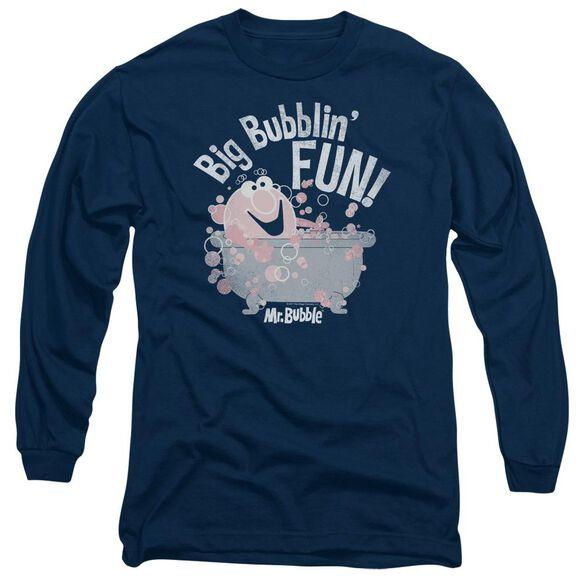 Mr Bubble Big Bubblin Fun Long Sleeve Adult T-Shirt