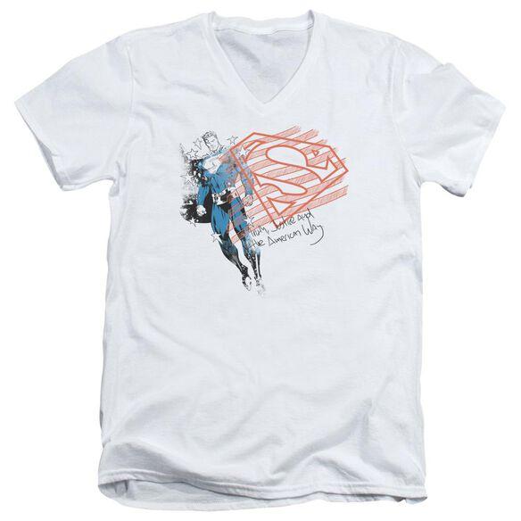 SUPERMAN SUPER AMERICAN FLAG - S/S ADULT V-NECK - WHITE T-Shirt