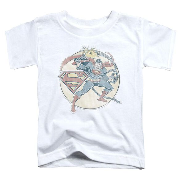 Dco Retro Superman Iron On Short Sleeve Toddler Tee White Sm T-Shirt