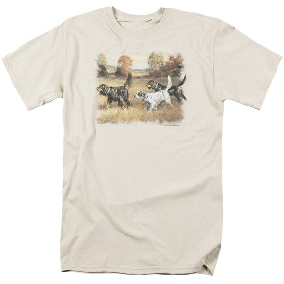 Wildlife Three Setters Short Sleeve Adult Cream T-Shirt