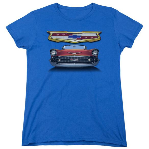 Chevrolet 1957 Bel Air Grille Short Sleeve Womens Tee Royal T-Shirt