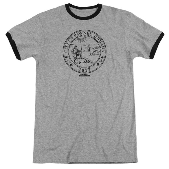Parks And Rec Pawnee Seal Adult Ringer Heather Black