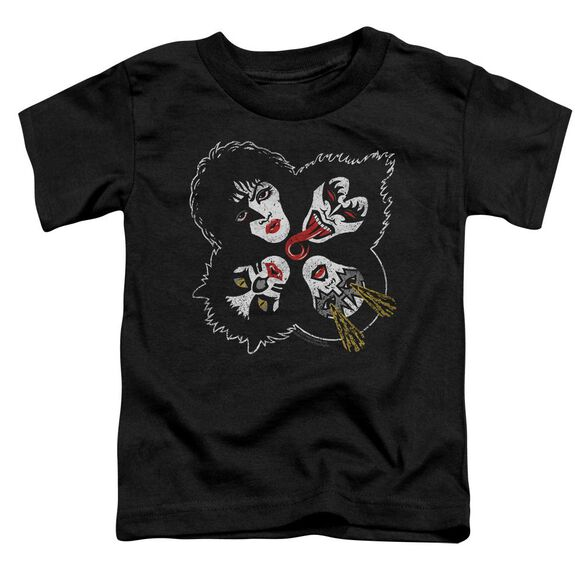 Kiss Rock And Roll Heads Short Sleeve Toddler Tee Black T-Shirt