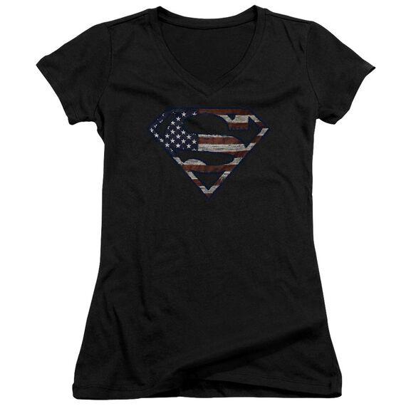 Superman Wartorn Flag Junior V Neck T-Shirt