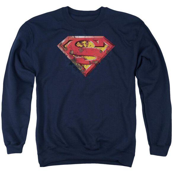 Superman Rusted Shield Adult Crewneck Sweatshirt