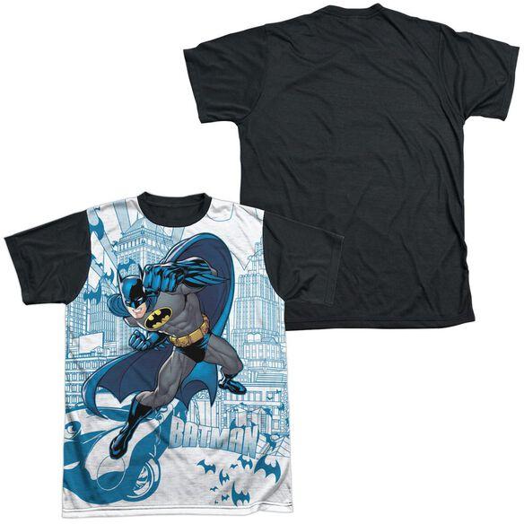 Batman Skyline All Over Short Sleeve Adult Front Black Back T-Shirt