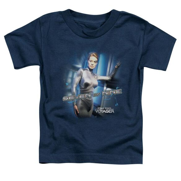 Star Trek Seven Of Nine Short Sleeve Toddler Tee Navy Lg T-Shirt