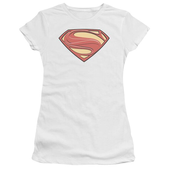 Man Of Steel New Solid Shield Short Sleeve Junior Sheer T-Shirt