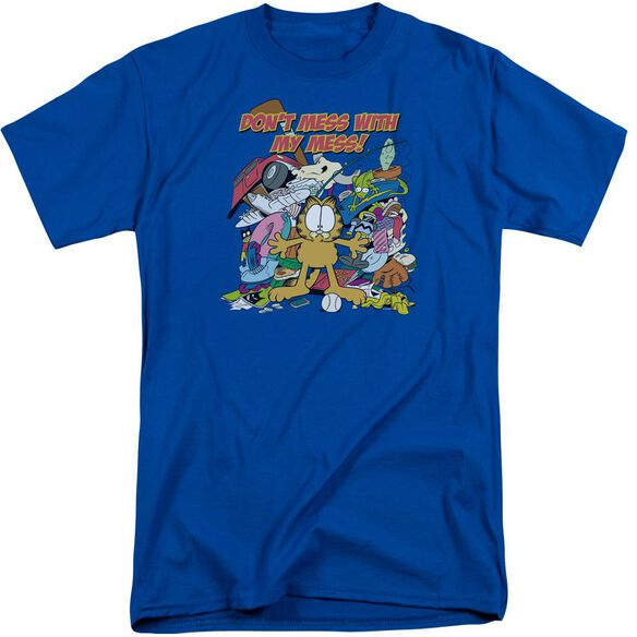 Garfield My Mess Short Sleeve Adult Tall Royal T-Shirt