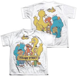 Sesame Street Block Party (Front Back Print) Short Sleeve Youth Poly Crew T-Shirt