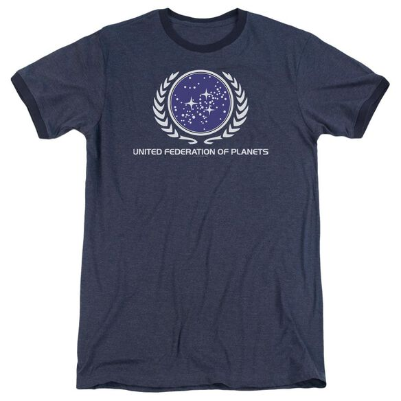 Star Trek United Federation Logo Adult Heather Ringer Navy