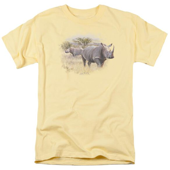 Wildlife Rhino Short Sleeve Adult Banana T-Shirt