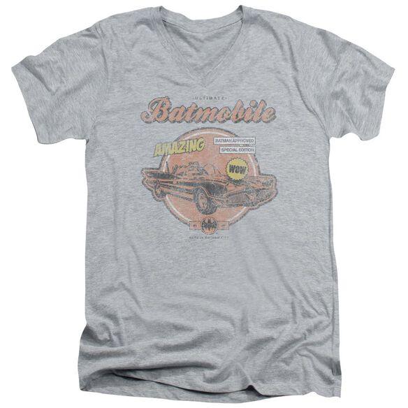 BATMAN AMAZING BATMOBILE - S/S ADULT V-NECK - ATHLETIC HEATHER T-Shirt