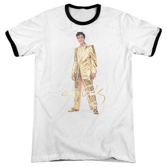Elvis Gold Lame Suit Adult Ringer White Black