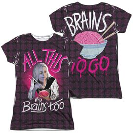 Izombie Brains Too (Front Back Print) Short Sleeve Junior Poly Crew T-Shirt