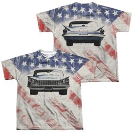Buick 1959 Electra Flag (Front Back Print) Short Sleeve Youth Poly Crew T-Shirt