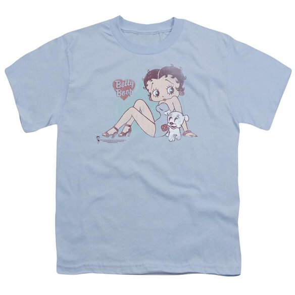 Betty Boop Vintage Pin Pup Short Sleeve Youth Light T-Shirt