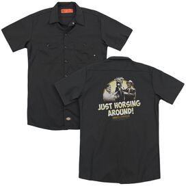 Abbott & Costello Horsing Around (Back Print) Adult Work Shirt