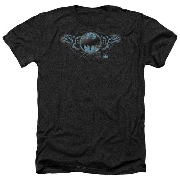 Batman Two Gargoyles Logo Adult Heather