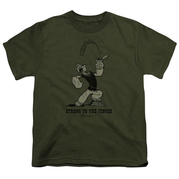 Popeye Strong To The Finish Short Sleeve Youth Military T-Shirt