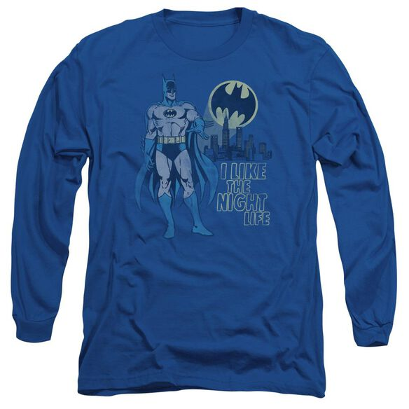 Dc Night Life Long Sleeve Adult Royal T-Shirt