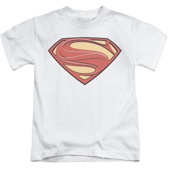Man Of Steel New Solid Shield Short Sleeve Juvenile White T-Shirt