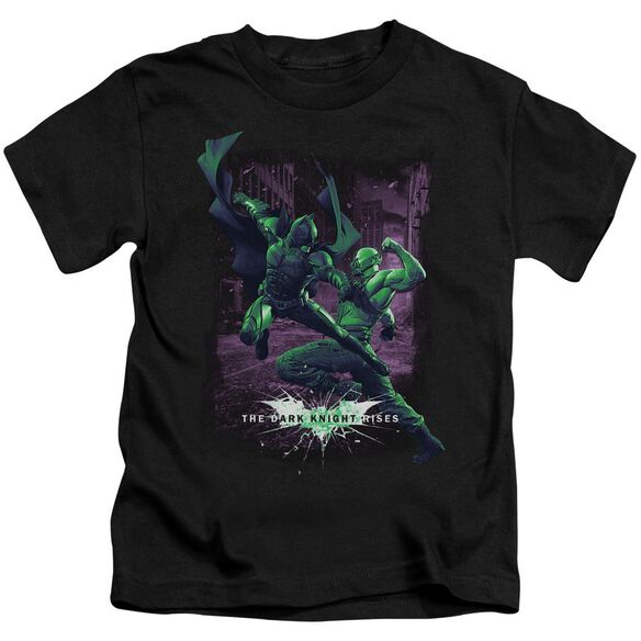 Dark Knight Rises Bat Vs Bane Short Sleeve Juvenile Black Md T-Shirt