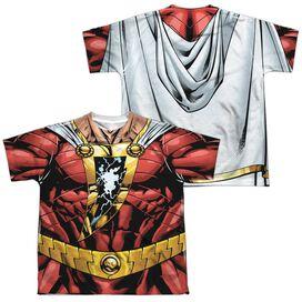 Jla Shazam Uniform (Front Back Print) Short Sleeve Youth Poly Crew T-Shirt