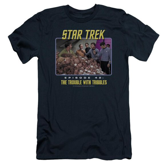 ST:ORIGINAL THE TROUBLE WITH TRIBBLES - S/S ADULT 30/1 - NAVY T-Shirt
