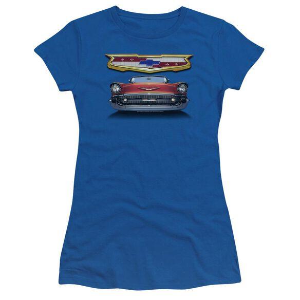 Chevrolet 1957 Bel Air Grille Short Sleeve Junior Sheer Royal T-Shirt
