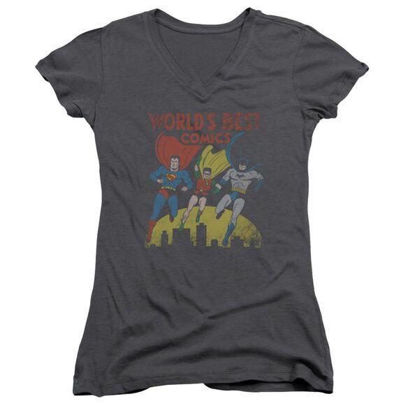 Jla World's Best Junior V Neck T-Shirt