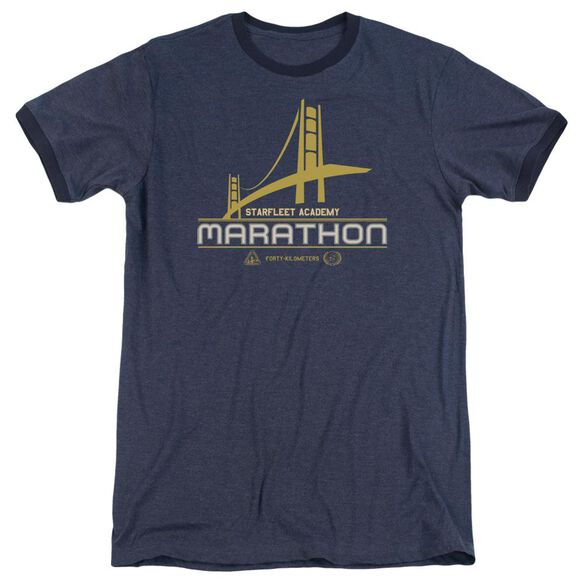Star Trek Marathon Logo Adult Heather Ringer Navy