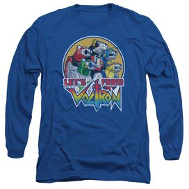 Voltron Lets Form Long Sleeve Adult Royal T-Shirt