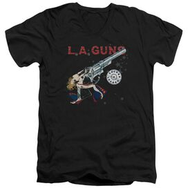 La Guns Cocked And Loaded Short Sleeve Adult V Neck T-Shirt