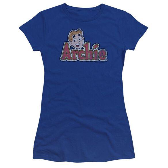 Archie Comics Distressed Archie Logo Premium Bella Junior Sheer Jersey Royal