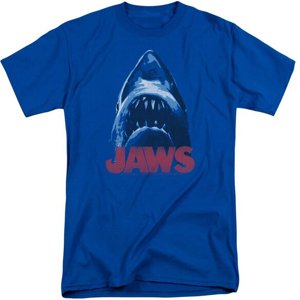 Jaws From Below Short Sleeve Adult Tall Royal T-Shirt