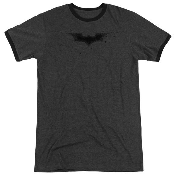 Dark Knight Bats Logo Adult Heather Ringer Charcoal