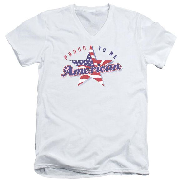 PROUD TO BE AMERICAN - ADULT V-NECK - WHITE T-Shirt