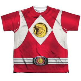 Power Rangers Red Ranger Emblem Short Sleeve Youth Poly Crew T-Shirt