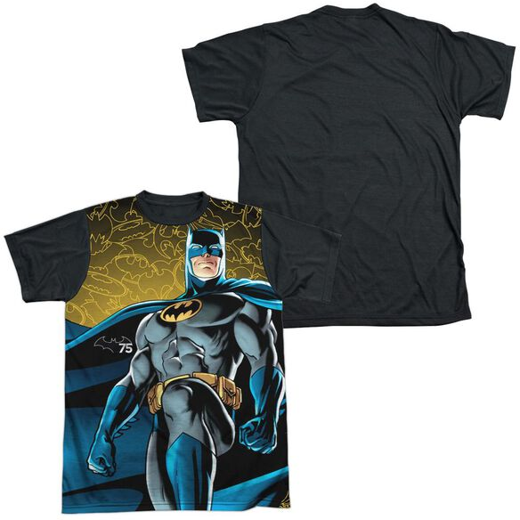Batman 75 Glow Short Sleeve Adult Front Black Back T-Shirt