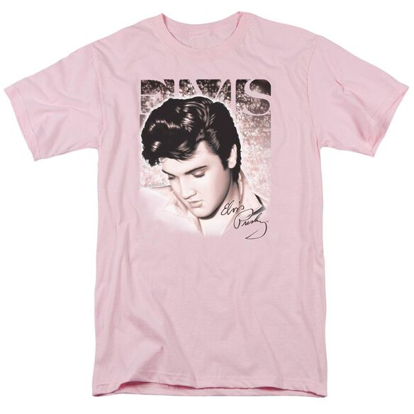 Elvis Star Light Short Sleeve Adult Pink T-Shirt