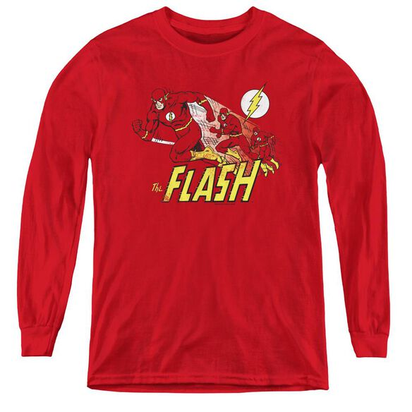 Dc Flash Crimson Comet - Youth Long Sleeve Tee - Red