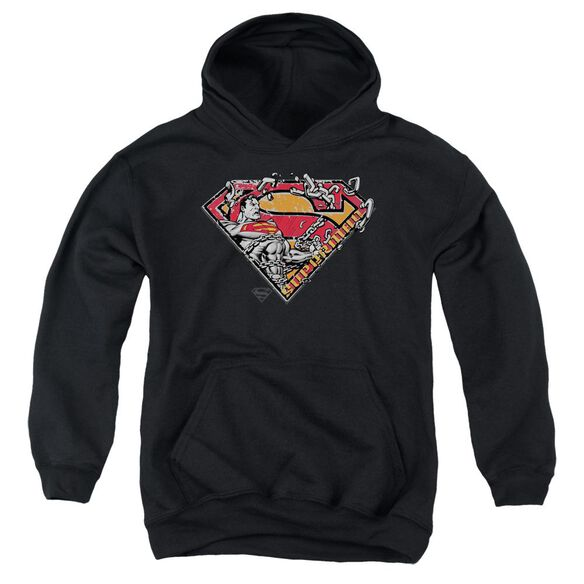 Superman Breaking Chain Logo Youth Pull Over Hoodie