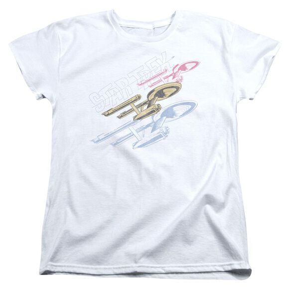 Star Trek Retro Tri Enterprise Short Sleeve Womens Tee T-Shirt