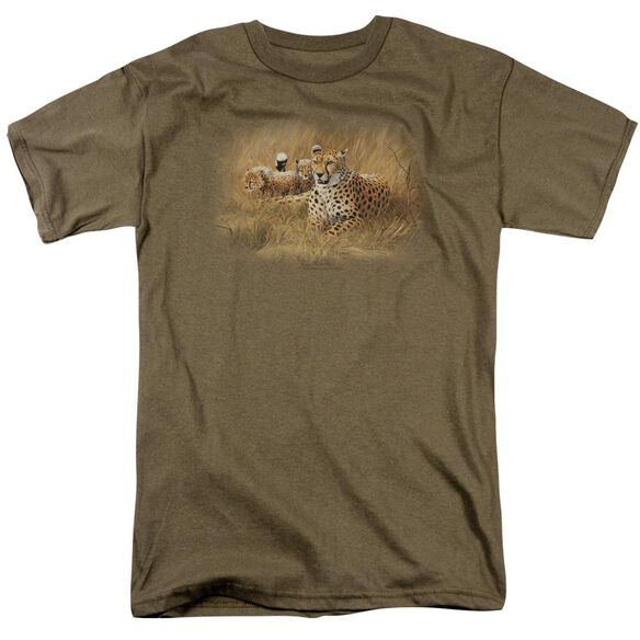 Wildlife Cheetah Family Short Sleeve Adult Safari Green T-Shirt
