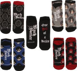 Black Butler Heads 5 Pair Low Cut Socks Set
